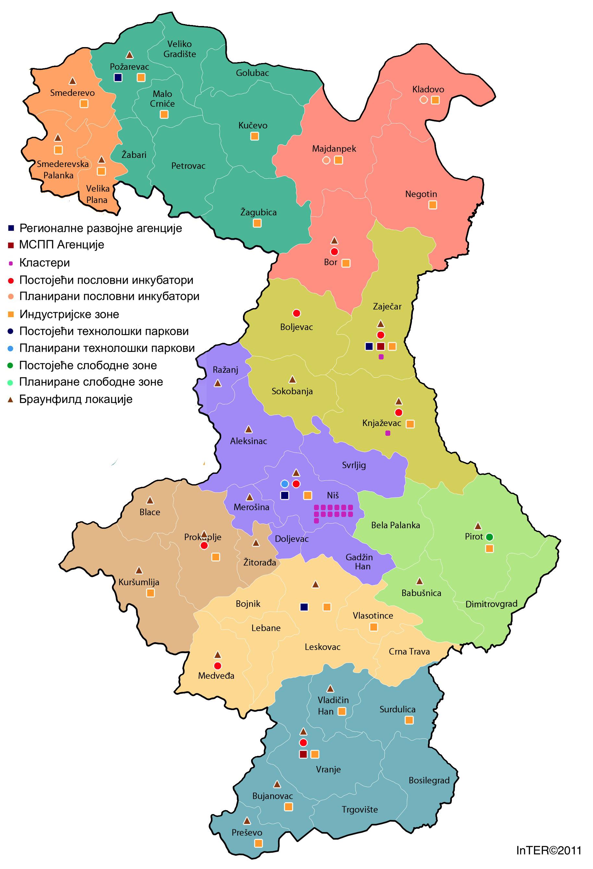InTER - Karta geografske distribucije elemenata poslovne