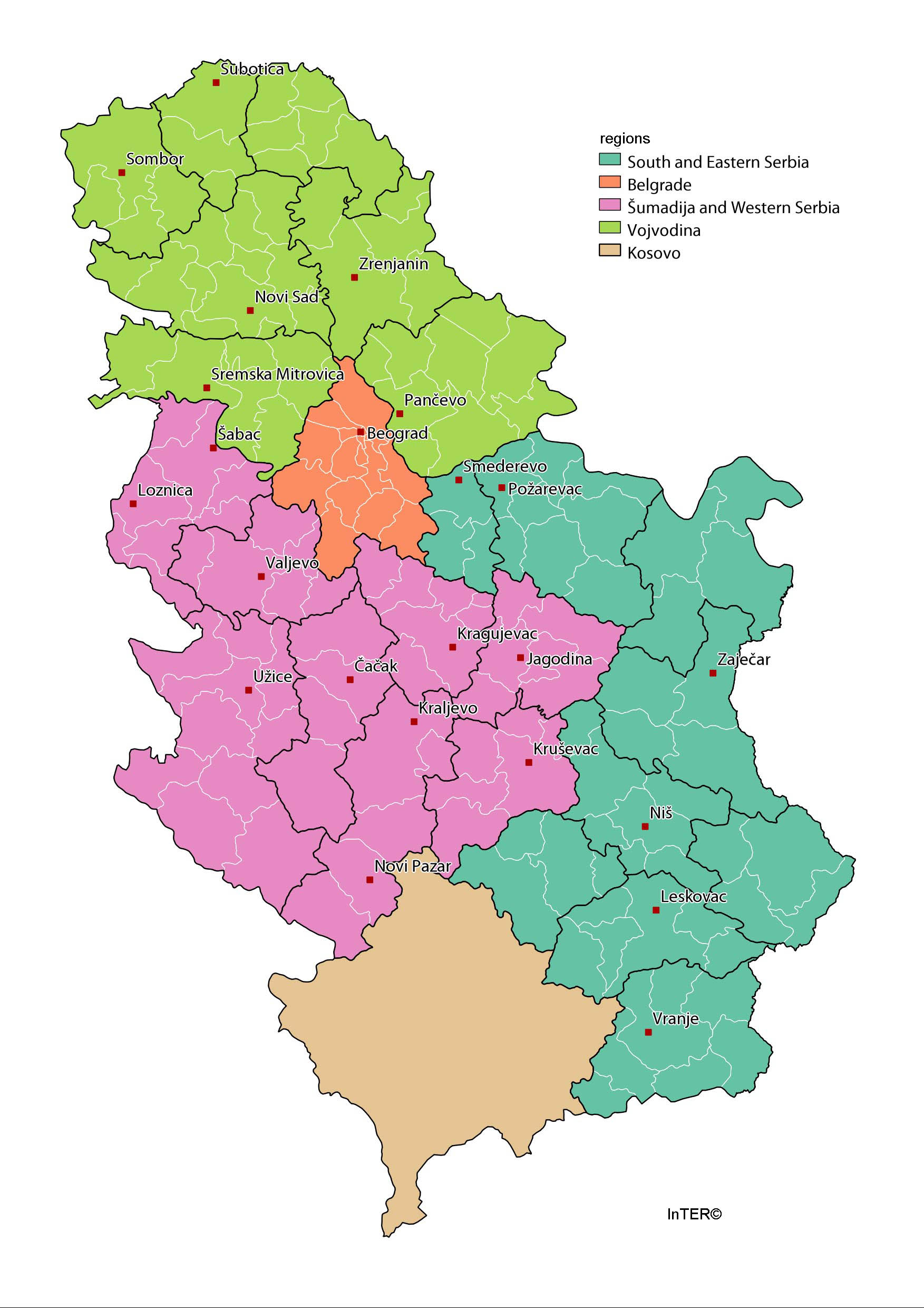 Inter Map Of Regions And Cities In Serbia