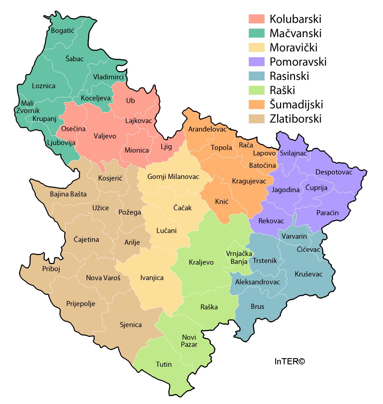 sumadija mapa InTER   Karta regiona Šumadije i Zapadne Srbije sumadija mapa
