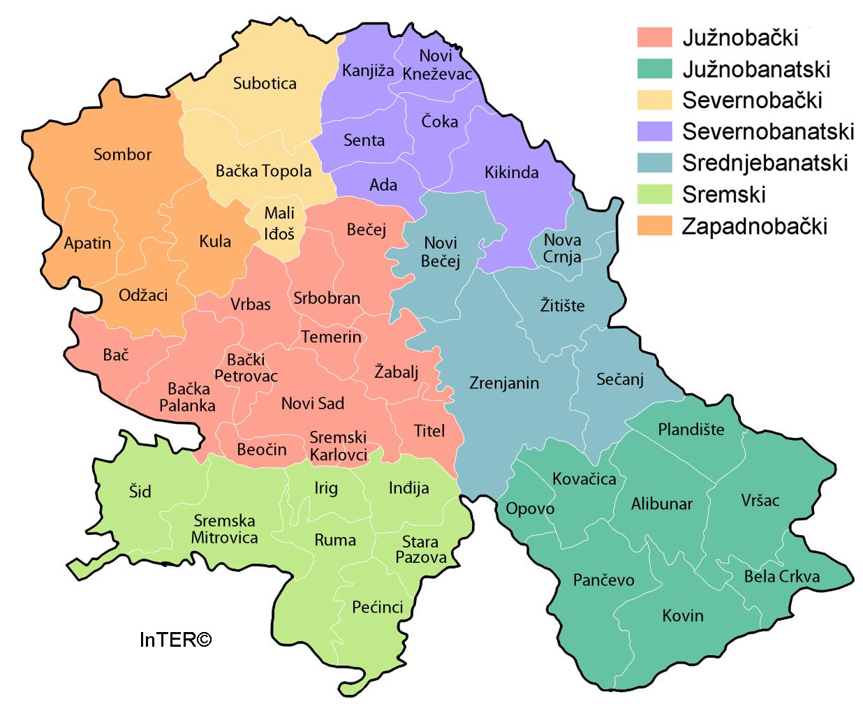 Karta Vojvodine Srbija Superjoden